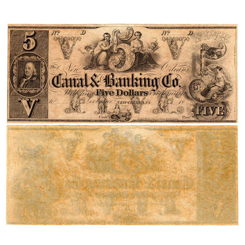 18__ (40s) $5 New Orleans Canal & Banking Co. Remainder LA-105-G10 - Crisp Uncirculated