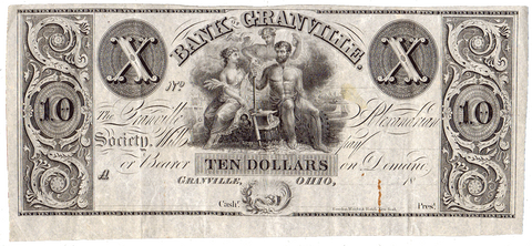 (1837-38) $10 Bank of Granville / Granville Alexandrian Society Ohio ~ OH-230-G24 ~ XF
