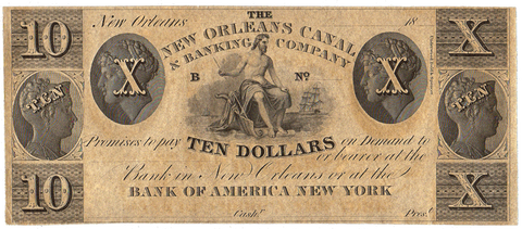 18__ $10 New Orleans Canal & Banking Co. Remainder LA-105-G84 ~ Crisp Uncirculated