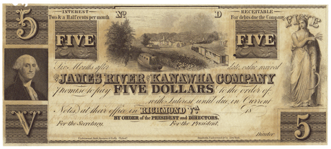 18__ $5 James River & Kanawha Co. Richmond, VA ~ Jones PR60-468 ~ Uncirculated