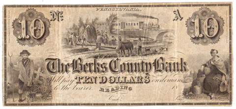 18__ $10 Berks County Bank Remainder Note Reading PA ~ PA-590-G28 ~ XF