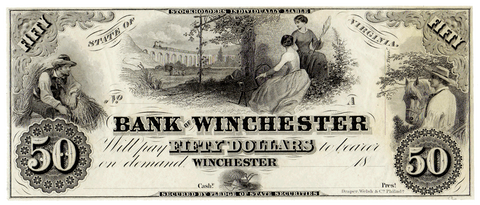 18__ $50 Bank of Winchester, Virginia Remainder Note ~ VA-260-G8 ~ Crisp Uncirculated