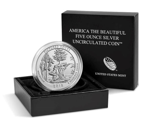 2018 Pictured Rocks America the Beautiful 5 oz Silver Uncirculated Coin w/ Box & C.O.A.