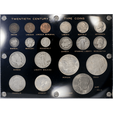 19-Coin 20th Century Type Set in Capital Plastic (451-N) - Very Good to PQ Brilliant Uncirculated