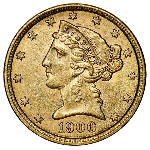 1900 $5 Liberty Head Gold - Choice About Uncirculated