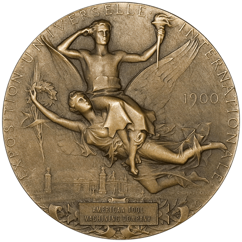 1900 Exposition Universelle 63mm Bronze Medal awarded American Tool & Machine Co - Gem Unc
