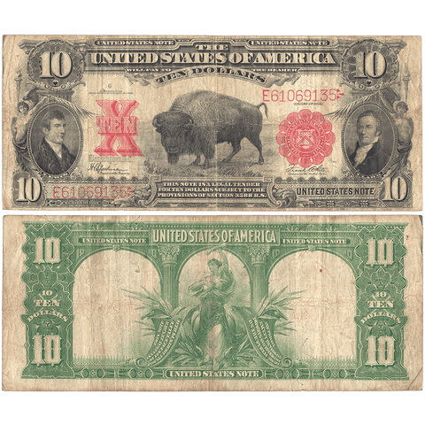 "1901 $10 Legal Tender ""Bison"" (FR. 122) - Choice Fine - Very Popular Note"
