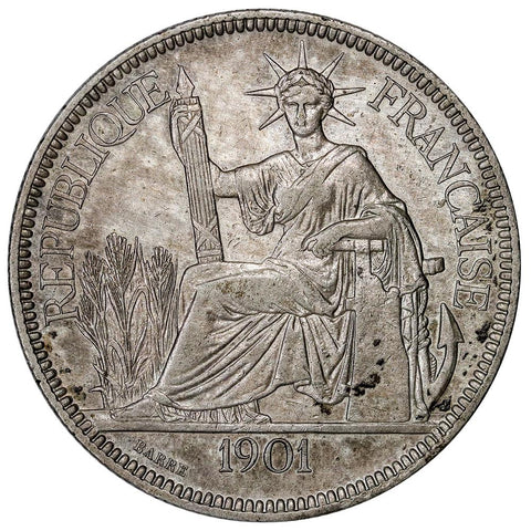 1901 French Indo-China Silver Piastre KM.5a.3 - About Uncirculated