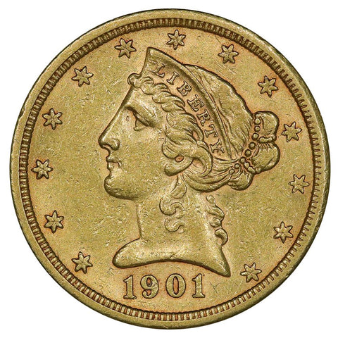 1901-S $5 Liberty Head Gold - About Uncirculated