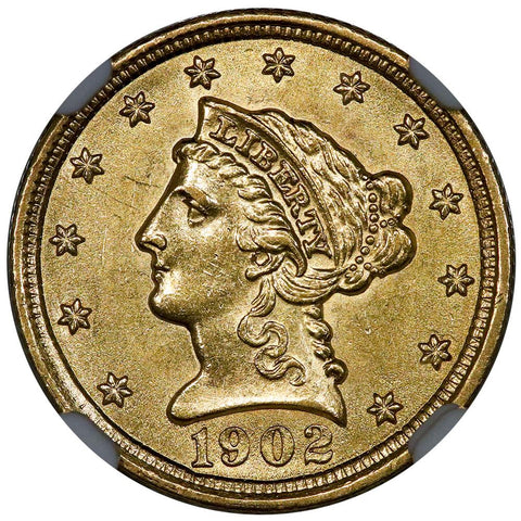 1902 $2.5 Liberty Gold Coin - NGC MS 62 - PQ Brilliant Uncirculated