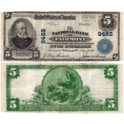 1902 Plain Back $5 National Bank of Fairmont, WV Fr. 600 - Nice Very Fine