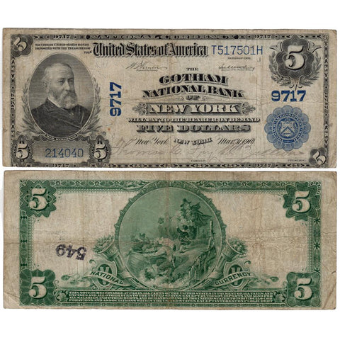 1902 Plain Back $5 Gotham National Bank of NY Fr. 601 - Net Fine