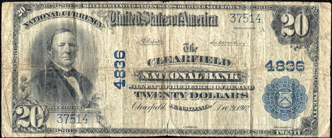 1902 Plain Back $20 Clearfield National Bank, PA Charter 4836 ~ Net VG/Fine