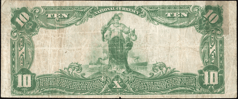 1902 Plain Back $10 Central National Bank of Richmond, VA Charter 10080 - Very Fine Details