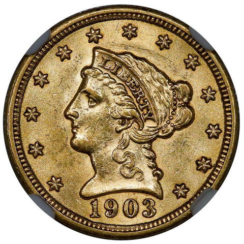 1903 $2.5 Liberty Gold Coin - NGC MS 62 - PQ Brilliant Uncirculated
