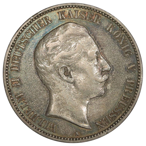 1904-A German States, Prussia Silver 5 Marks KM.523 - Very Fine+