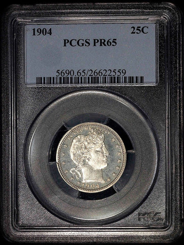 Proof 1904 Barber Quarter - PCGS PR 65 ~ Pleasing Light Cameo