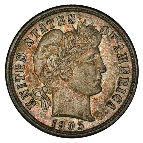 1905 Barber Dime - Vibrant Color Toned - AU+