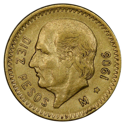 1906 Mexico 10 Peso Gold Coin KM. 473 - XF/AU