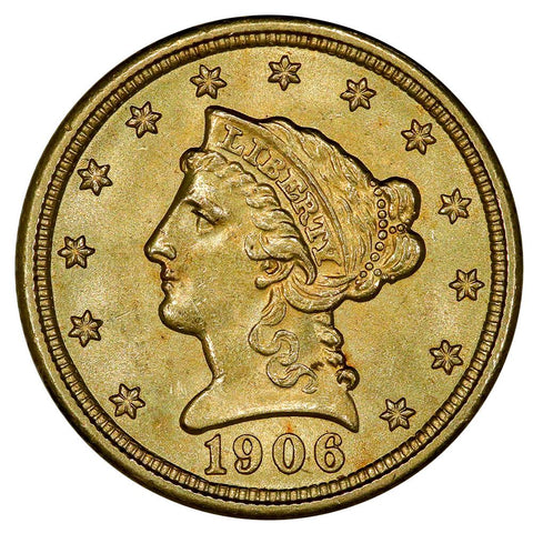 1906 $2.5 Liberty Gold Coin - PQ Brilliant Uncirculated