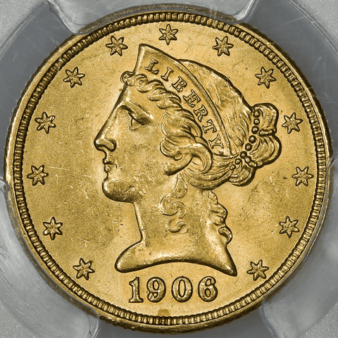 1906 $5 Liberty Gold Coin - PCGS MS 63