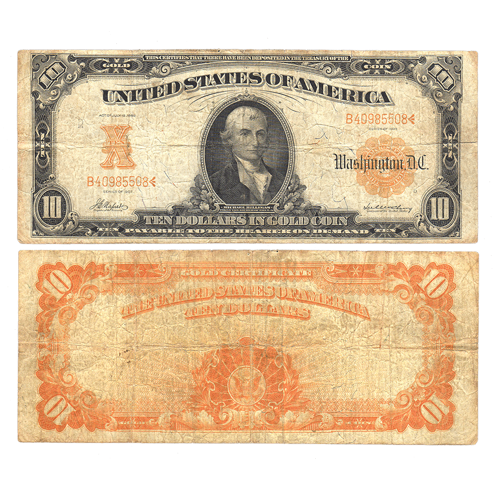 1907 10 Gold Certificate Napiermcclung Act Of 1882 Fr 1169 Fine