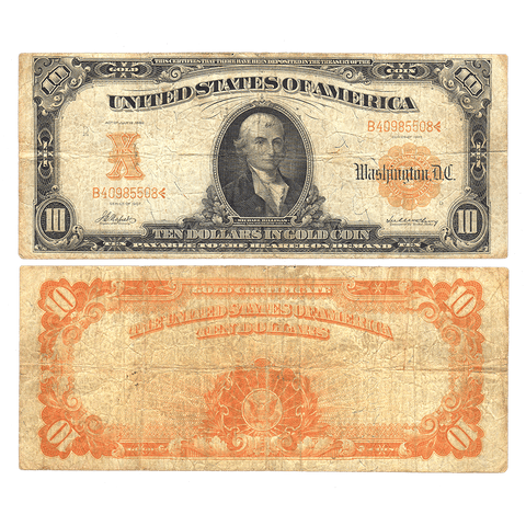 1907 $10 Gold Certificate Napier/McClung (Act of 1882) Fr. 1169 ~ Fine