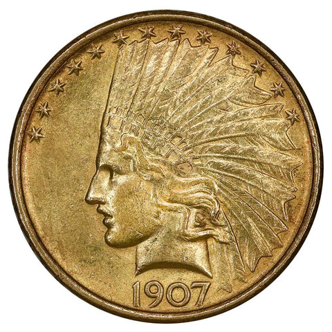 1907 No Motto $10 Indian Gold Coin - PQ Brilliant Uncirculated