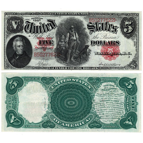 1907 $5 Legal Tender 'Woodchopper' Fr. 85 - Choice Crisp Uncirculated