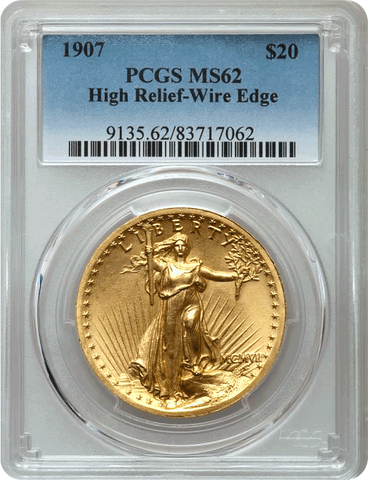 Highly Pleasing 1907 Wire Rim High Relief $20 Saint Gaudens - PCGS MS62