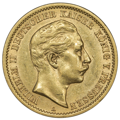 1907-A German States \ Prussia Gold 10 Mark KM.520 - About Uncirculated