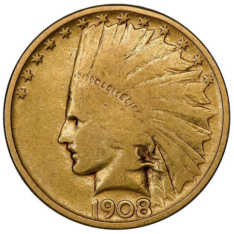 1908 No Motto $10 Indian Gold Coin - G/VG Obv./Fine Reverse
