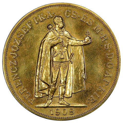"1908 ""Restrike"" Hungary 100 Korona Gold Coins KM. 491 - Gem Uncirculated Prooflike"