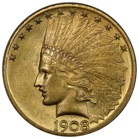 1908 No Motto $10 Indian Gold Coin - NGC MS 61