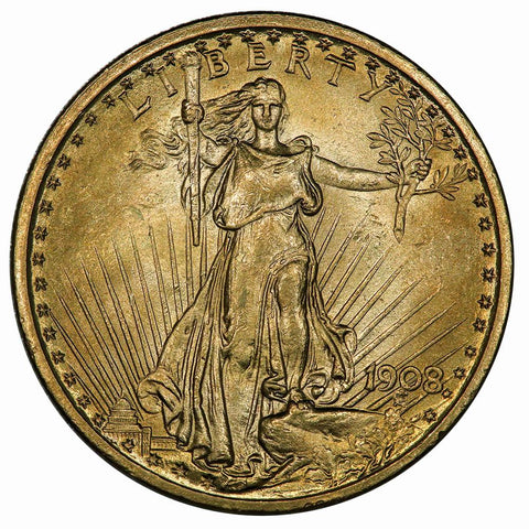 1908 No Motto $20 Saint Gauden's Double Eagle - Brilliant Uncirculated