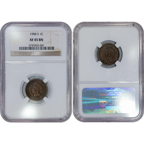 1908-S Indian Head Cent - NGC Extremely Fine 45