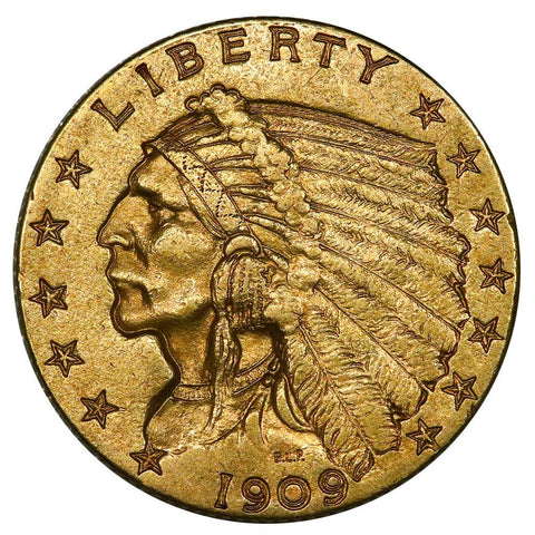 1909 $2.5 Indian Quarter Eagle Gold Coin - About Uncirculated