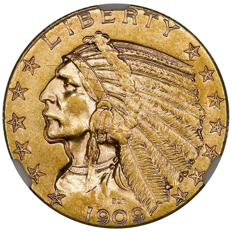 1909 $5 Indian Half Eagle Gold Coin - NGC MS 61 - Uncirculated
