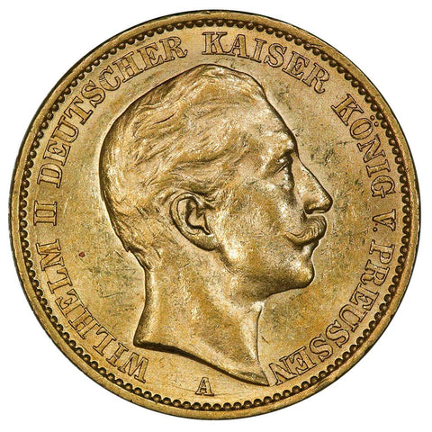 1909-A German States, Prussia Gold 20 Mark KM.521 - About Uncirculated+