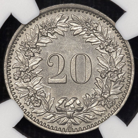 1909-B Switzerland Nickel 20 Rappen KM.29 - NGC MS 64