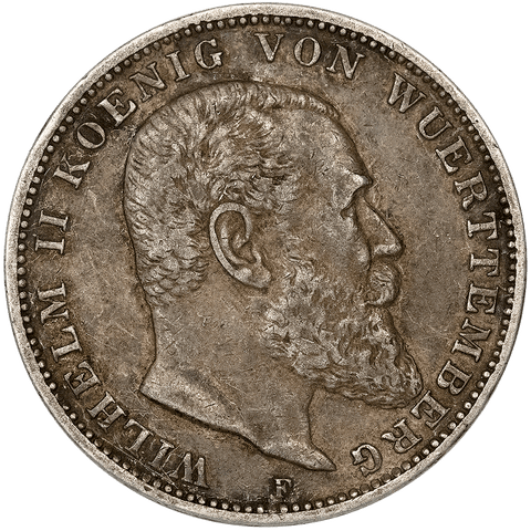 1909-F German States, Wurttemberg Silver 3 Mark KM.635 - Very Fine+