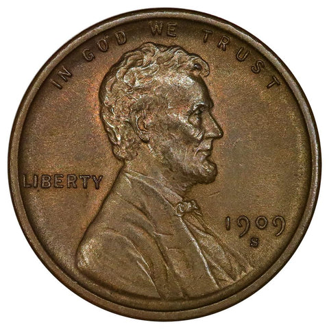 1909-S Lincoln Wheat Cent - Semi-Key Date - About Uncirculated+