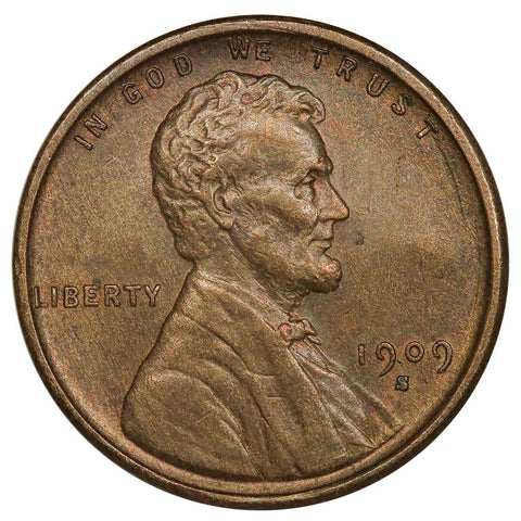 1909-S VDB Lincoln Wheat Cent - Key Date - About Uncirculated