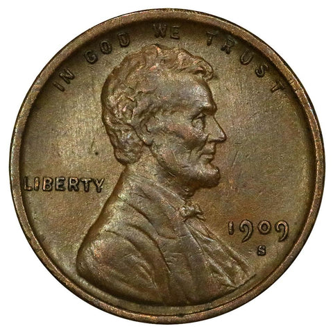 1909-S VDB Lincoln Wheat Cent - Key Date - About Uncirculated Detail