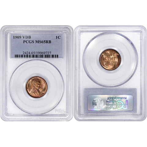 1909 V.D.B. Lincoln Wheat Cent - PCGS MS 65 RB - Gem Uncirculated Red & Brown