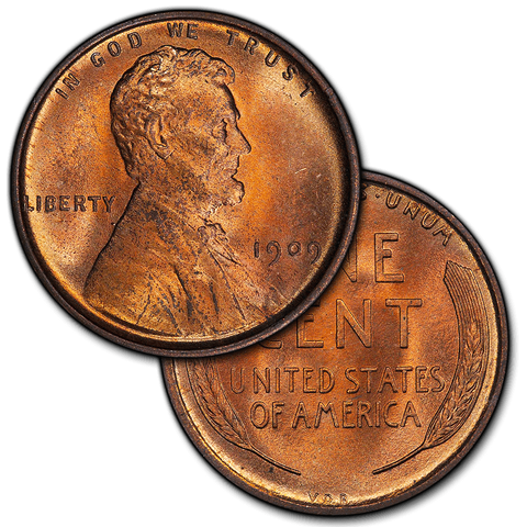 Lincoln Cents by Date 1909 to 1943 in Brilliant Uncirculated