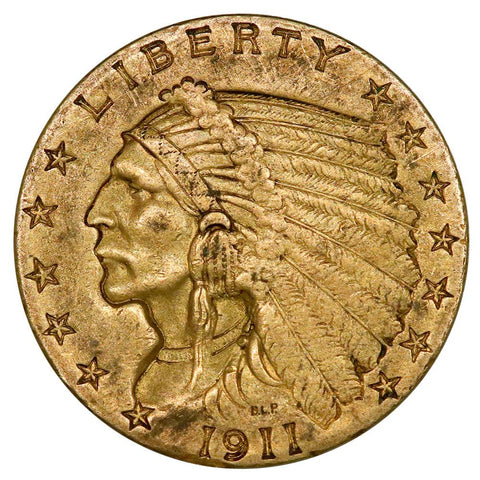 1911 $2.5 Indian Quarter Eagle Gold Coin - Nominal AU