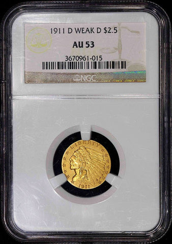 "1911-D ""Weak D"" $2.5 Indian Key Date - NGC AU 53"
