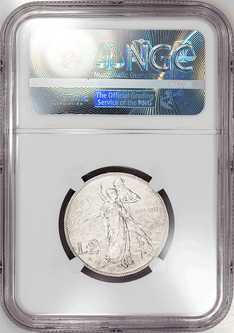 "1911-R Italy ""50th Anniversary"" Silver 2 Lire KM.52 - NGC AU Details"