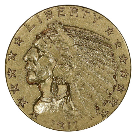 1911-S $5 Indian Half Eagle Gold Coin - Very Fine